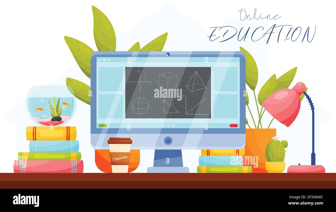 Formation en ligne. Concept d'apprentissage à distance. Illustration vectorielle. Illustration de Vecteur