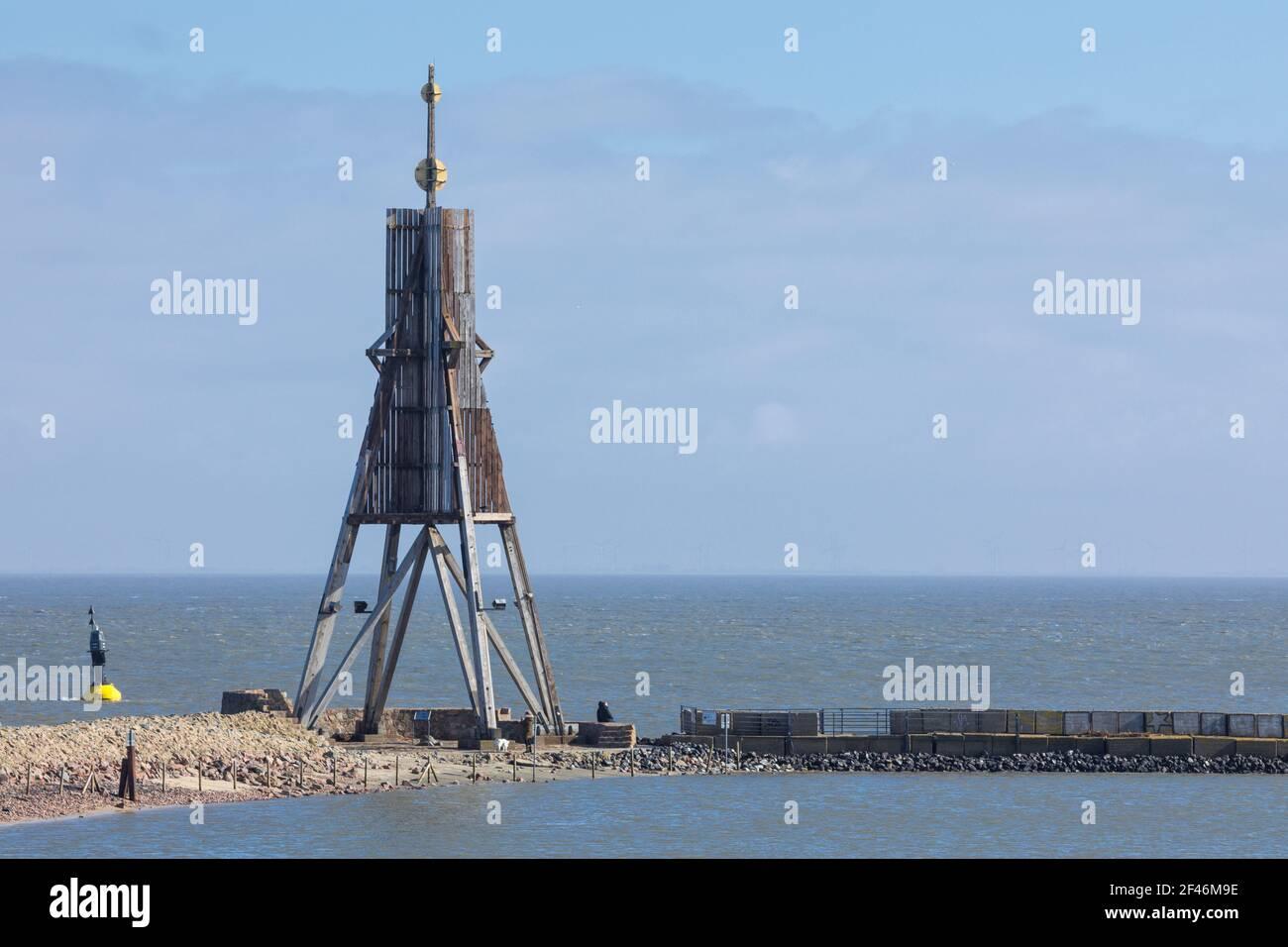 Kugelbake ou ball Beacon, point de repère de la ville de Cuxhaven sur l'estuaire de l'Elbe, Banque D'Images