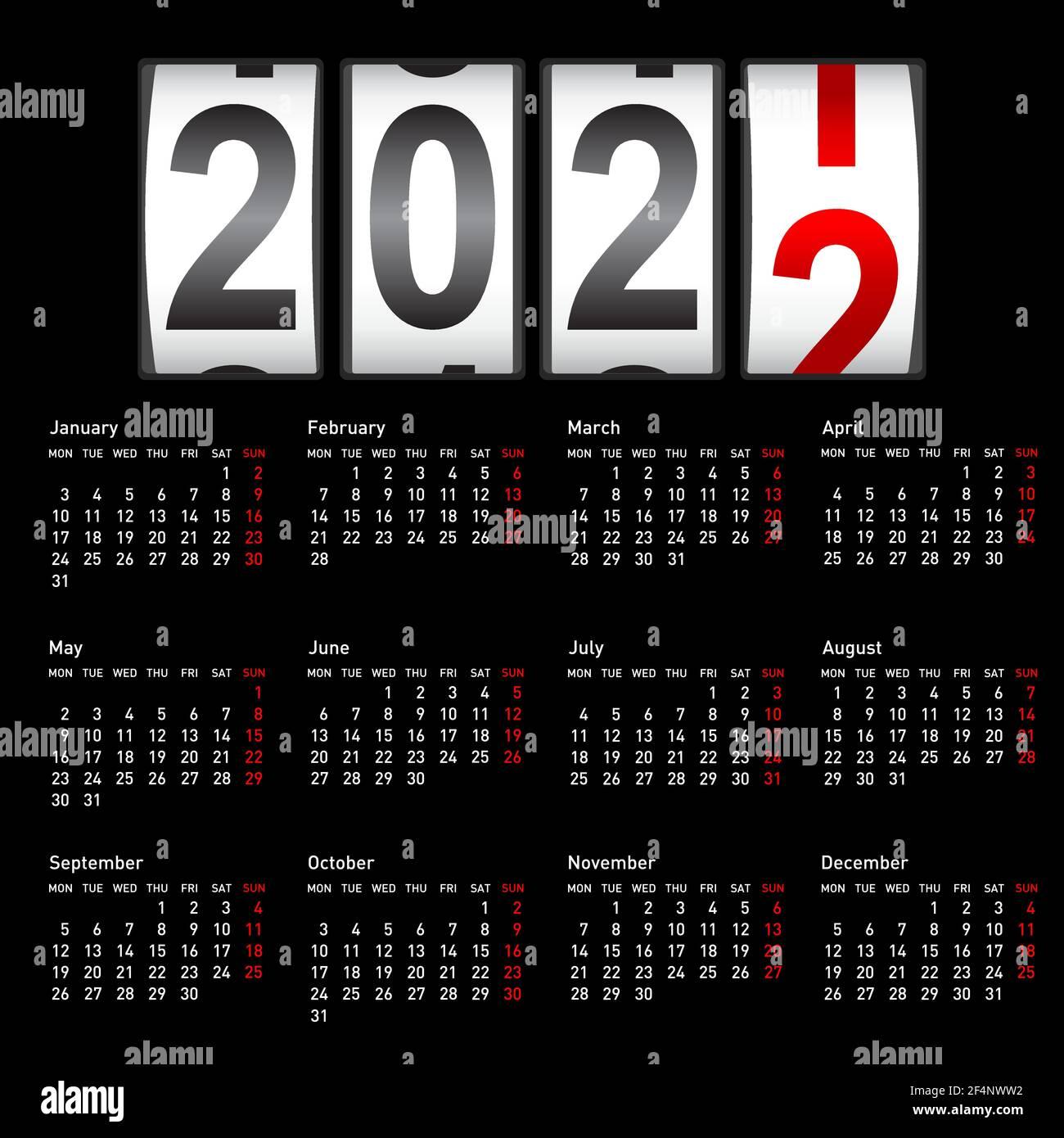 Calendrier 2022 à Modifier 2022 compteur du nouvel an, modifier l'illustration du calendrier