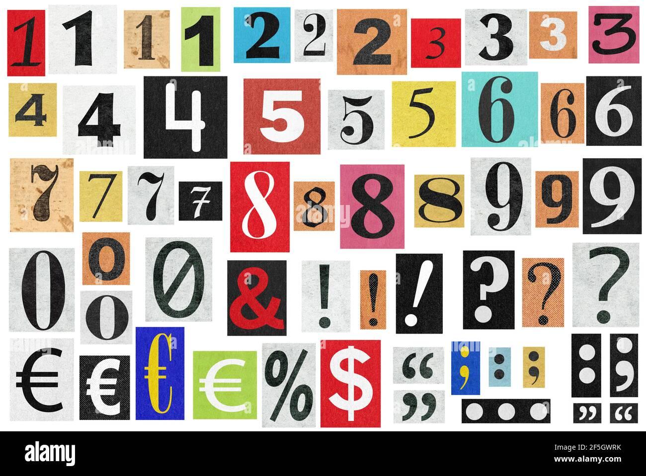 Notes de rançon. Les chiffres et les lettres coupés en papier. Découpes de vieux journaux Banque D'Images
