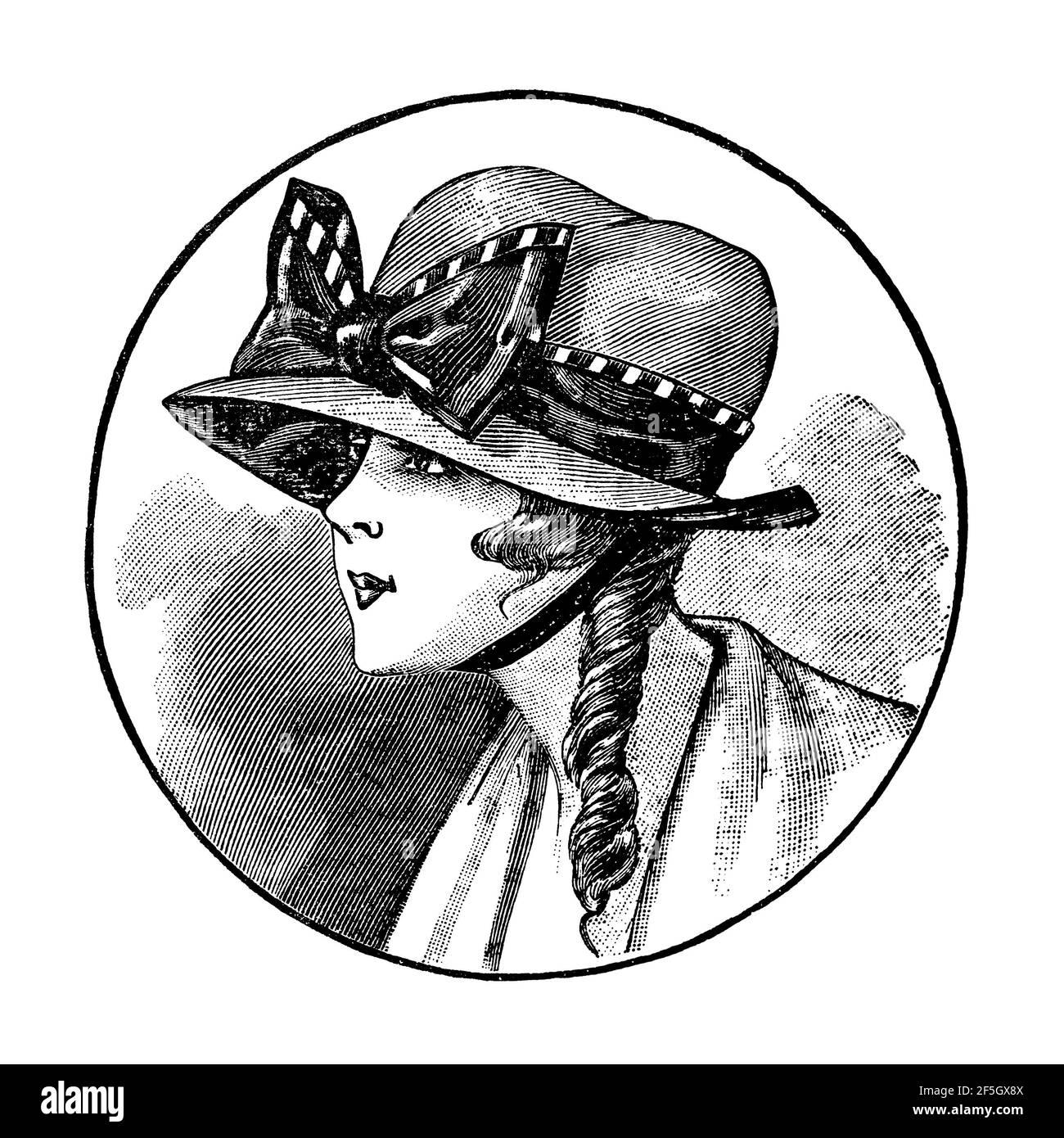 Femmes portant un chapeau élégant vintage. Gravure de mode antique de 1919, France, Paris Banque D'Images