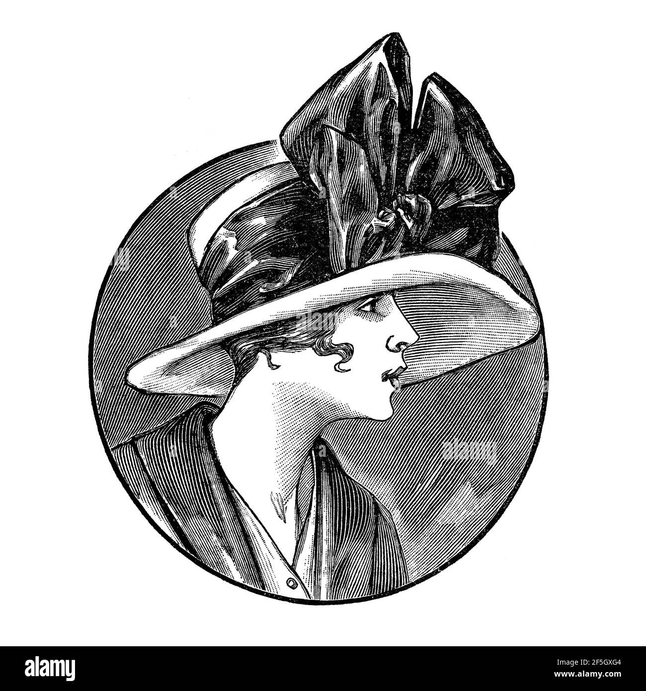 Femmes portant un chapeau de style rétro. Gravure de mode vintage de 1919, France, Paris Banque D'Images