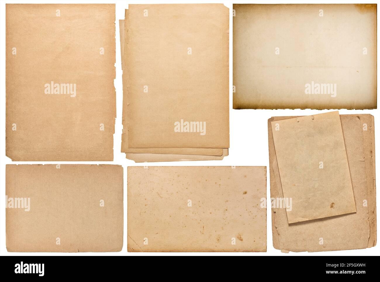 Feuilles de papier, pages de livre, carton isolé sur fond blanc. Scrapbooking création d'objets Banque D'Images