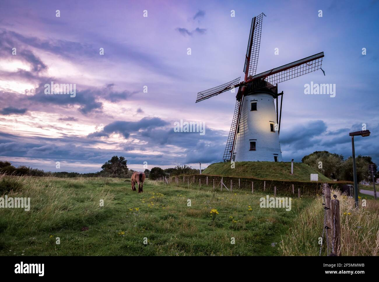 Ancien moulin à vent de Damme, Belgique connu sous le nom de Hoeke Mill (Hoekemolen) Banque D'Images