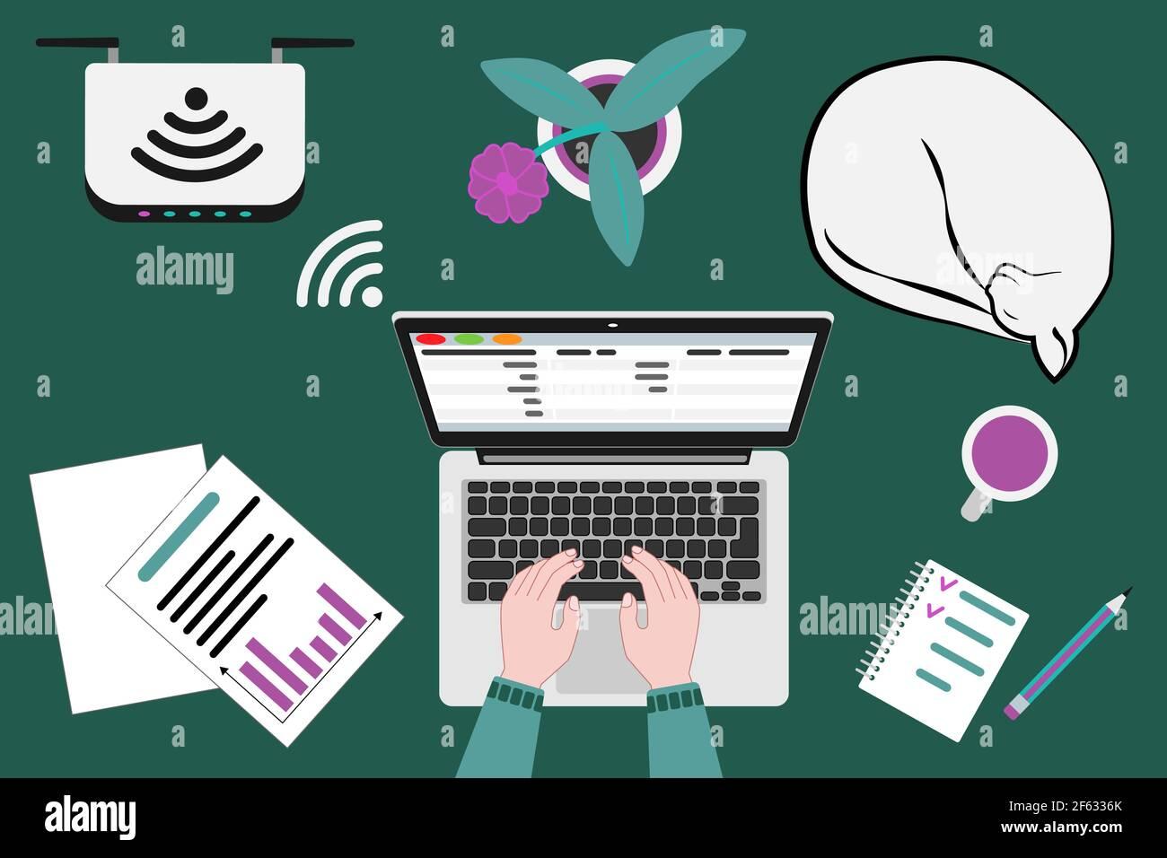 Lieu de travail pour le télétravail ou l'apprentissage à domicile Illustration de Vecteur
