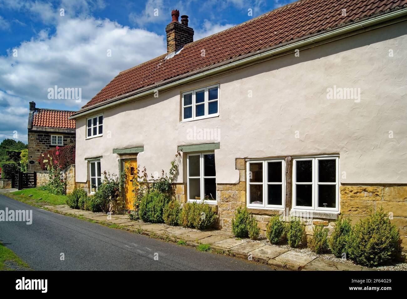 Royaume-Uni, Yorkshire du Sud, Doncaster, Cottages, Cottages dans le village de Clayton Banque D'Images