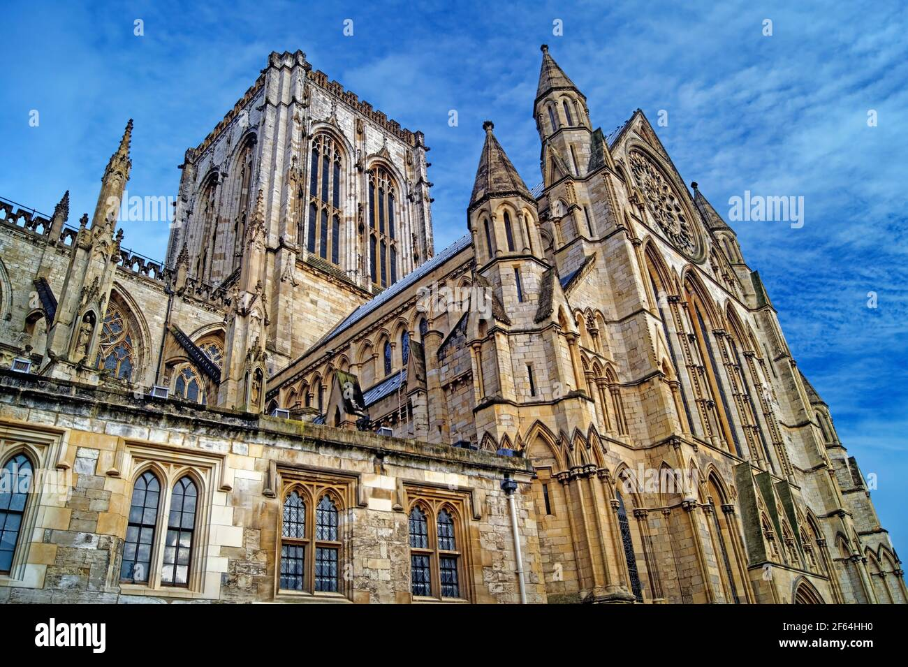 Royaume-Uni, North Yorkshire, York, Central Tower et South face of York Minster Banque D'Images