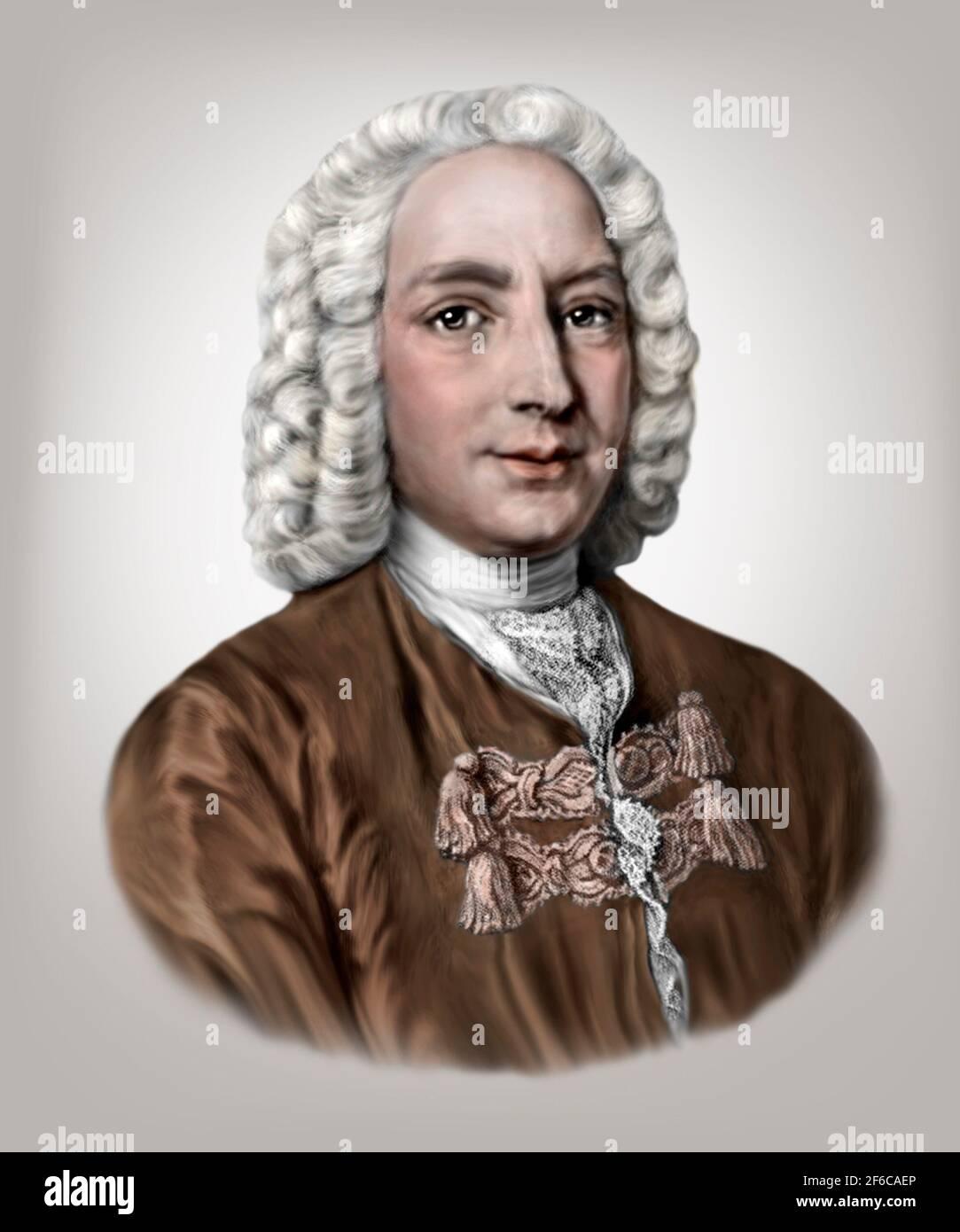 Daniel Bernoulli 1700-1782 mathématicien suisse physicien Banque D'Images
