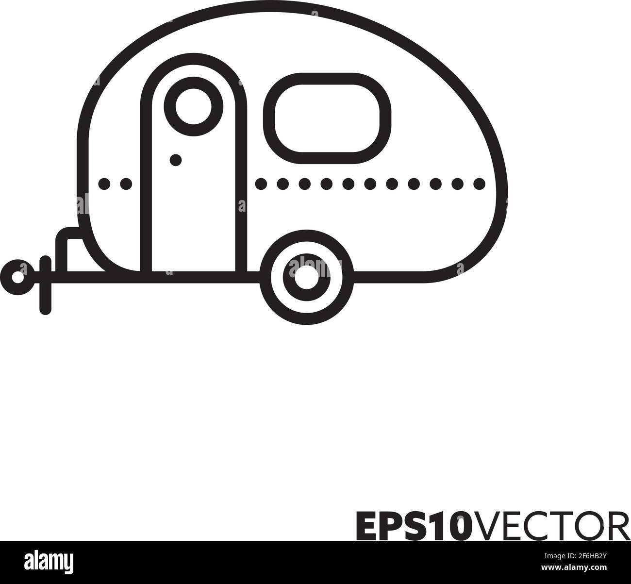 Icône de la ligne de caravane. Symbole de contour de la remorque de camping. Illustration du vecteur mobile domestique. Illustration de Vecteur