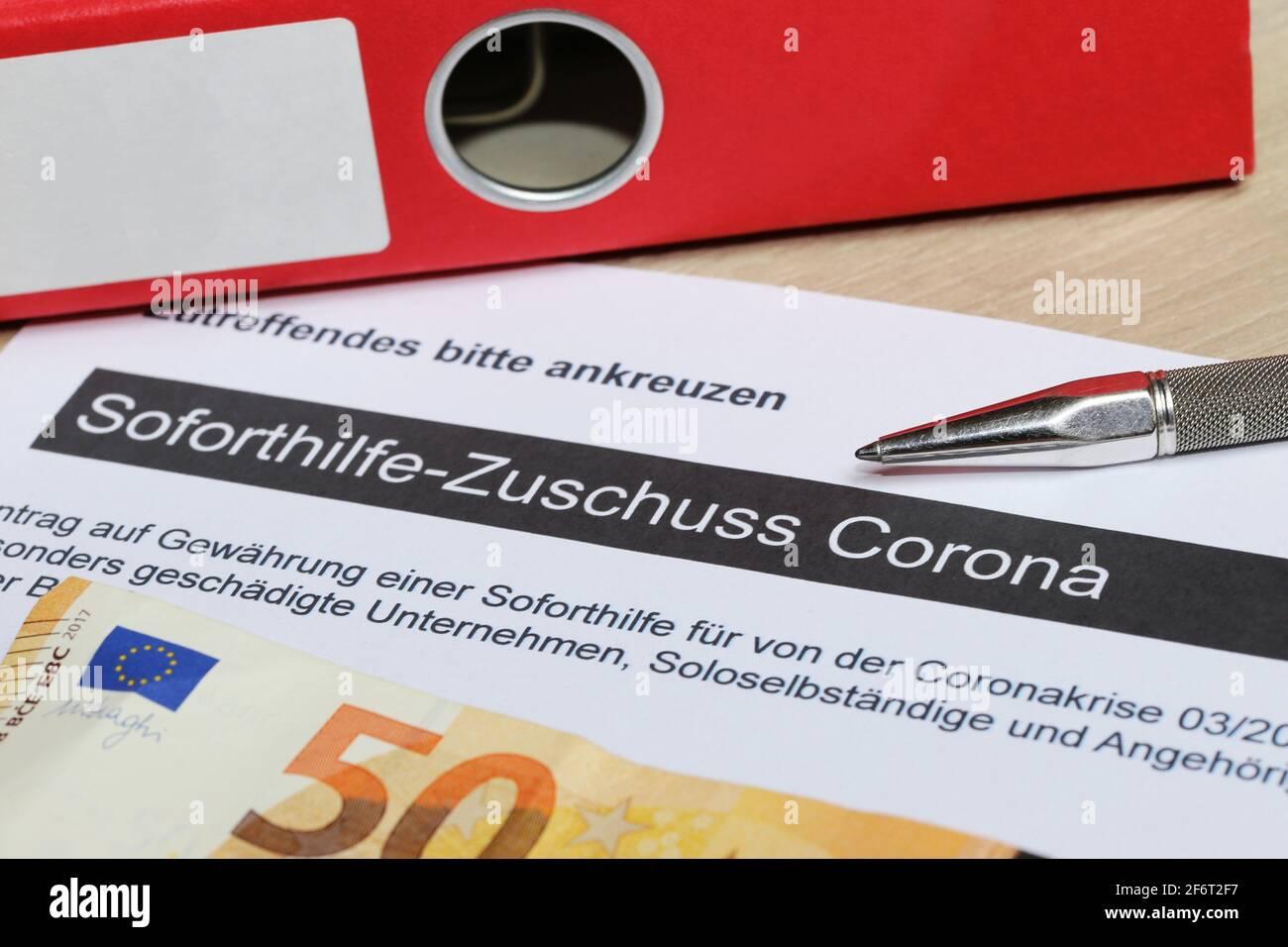 Image de symbole aide immédiate Corona en Allemagne (Sodirect-Zuschuss Corona). Banque D'Images