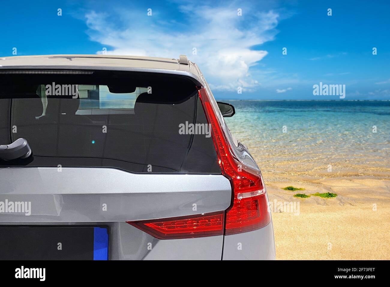 Maquette de vitre de voiture. Maquette de produit vacances d'été Banque D'Images
