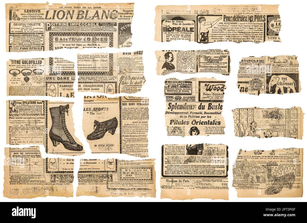 Vieux papiers avec texte illisible. Pièces en papier utilisées pour la création de scrapbooking de page découplée Banque D'Images