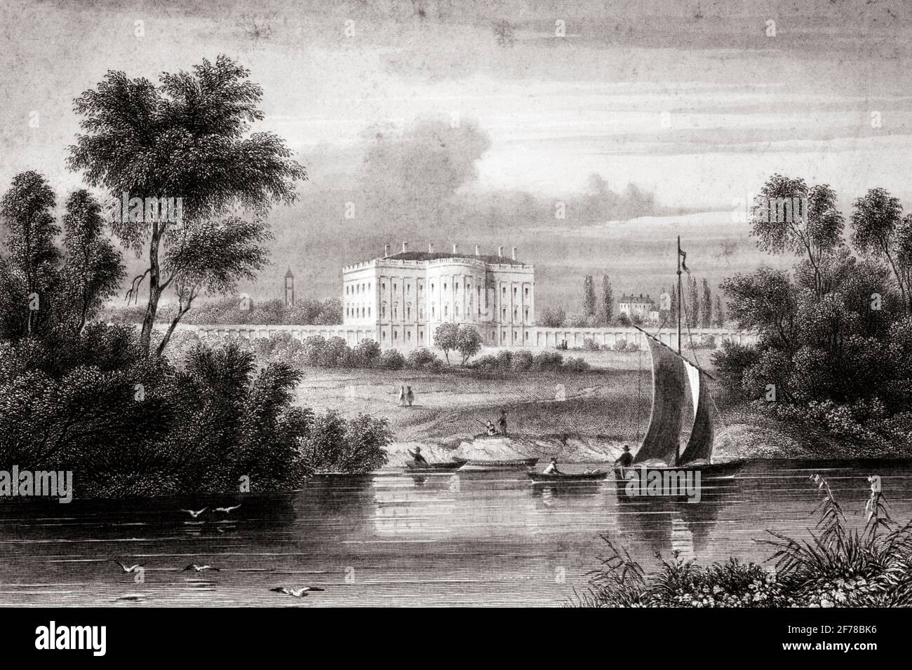 1800S 1810S VUE DES BATEAUX DE LA MAISON BLANCHE DANS FOREGROUND CONÇU PAR L'ARCHITECTE D'ORIGINE IRLANDAISE JAMES HOBAN WASHINGTON DC USA - Q65195 CPC001 HARS LIEU DE TRAVAIL EXTÉRIEUR DU PREMIER DISTRICT DE COLUMBIA MAISONS PRÉSIDENTIELLES POLITIQUE CAPITALE MANSION RÉSIDENCE OFFICIELLE POTOMAC 1810 NOIR ET LE QUARTIER BLANC FÉDÉRAL PREMIER PLAN MAISON BLANCHE À L'ANCIENNE Banque D'Images