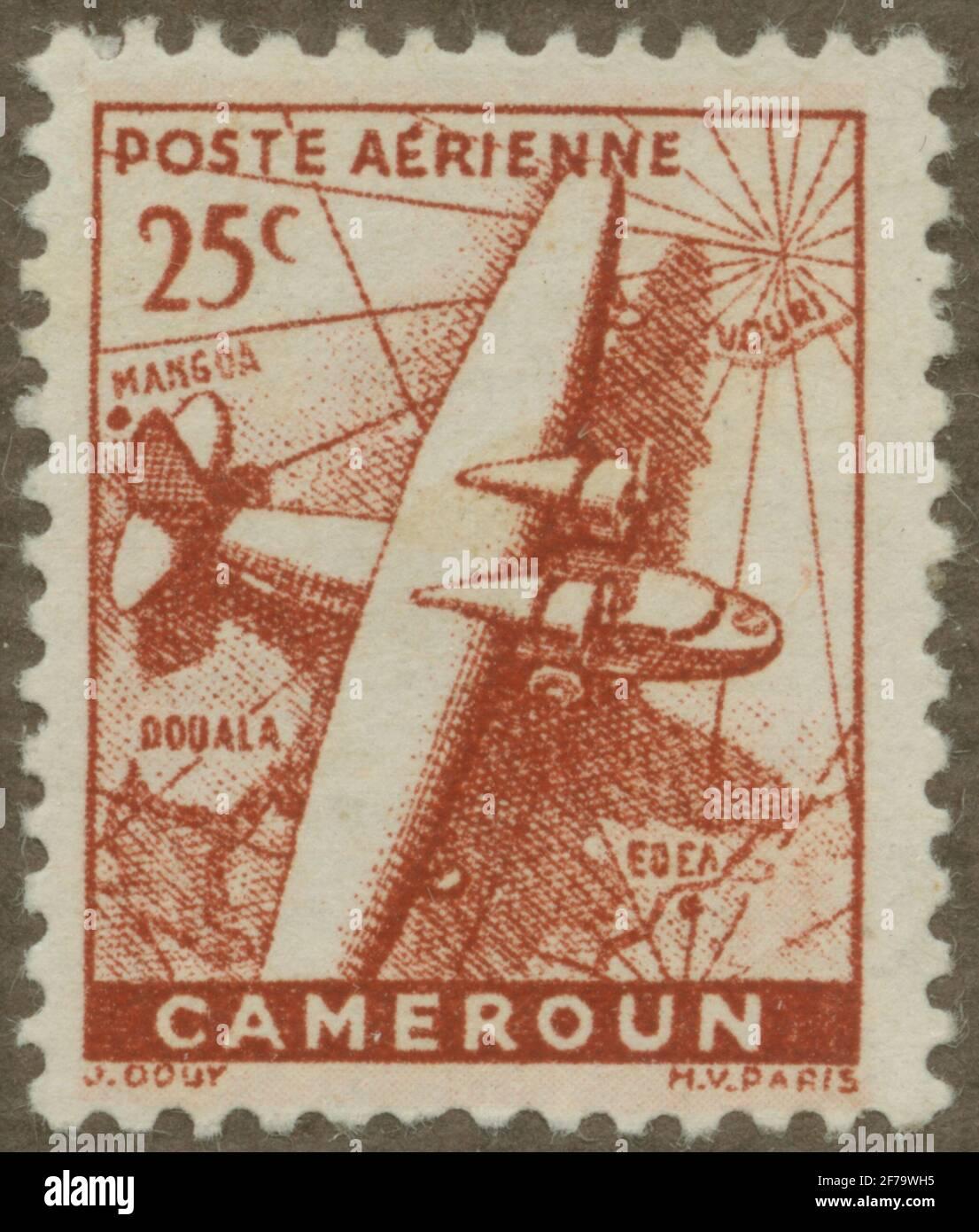 Timbre du poste de philatéliste de Gösta Bodman, commencé en 1950.le timbre de French Camerun, 1941. Carte de la carte de la carte de Camerun et des monopes à deux moteurs. Banque D'Images