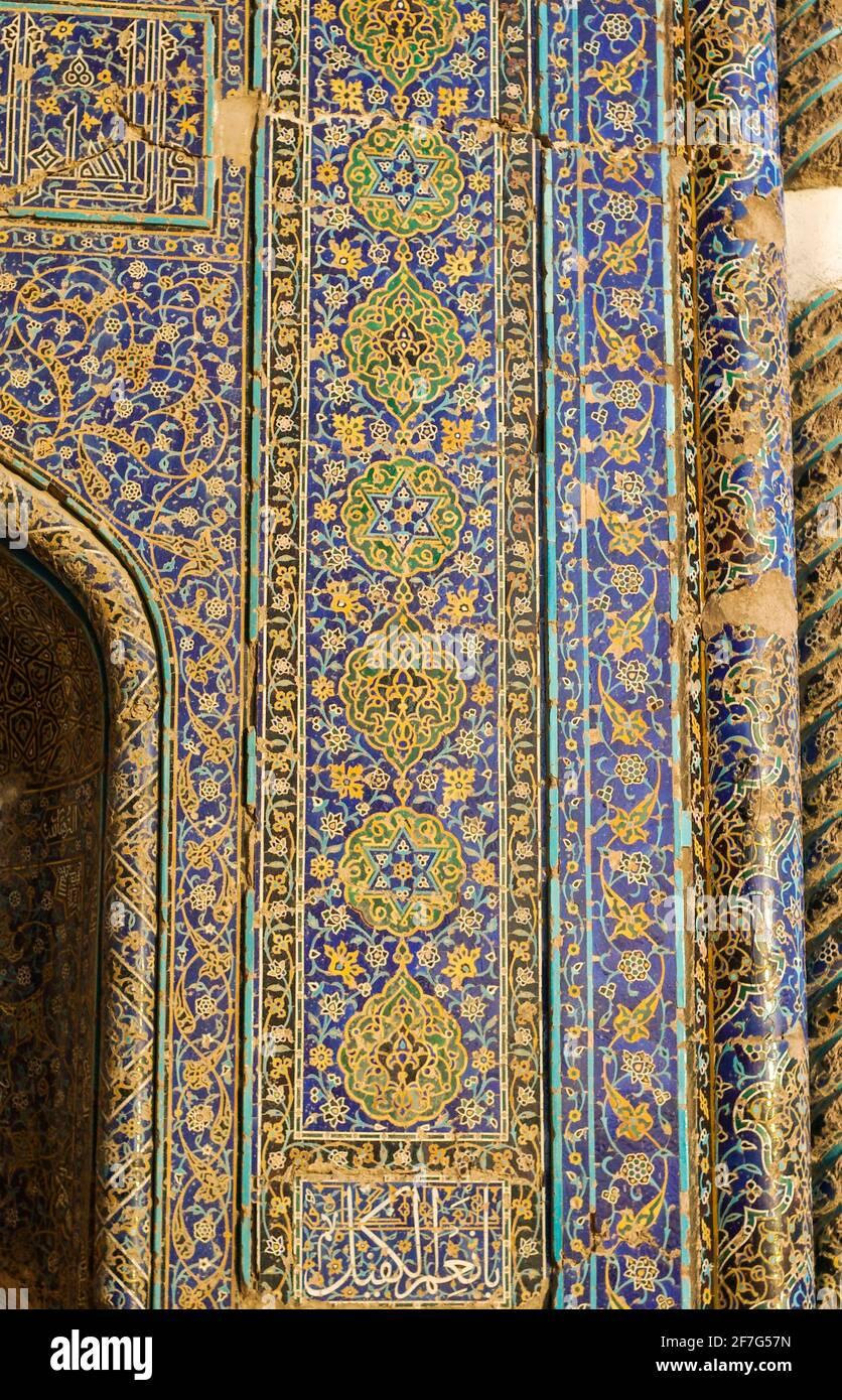 Détail de la tilwork, Mosquée bleue, Tabriz, Iran Banque D'Images
