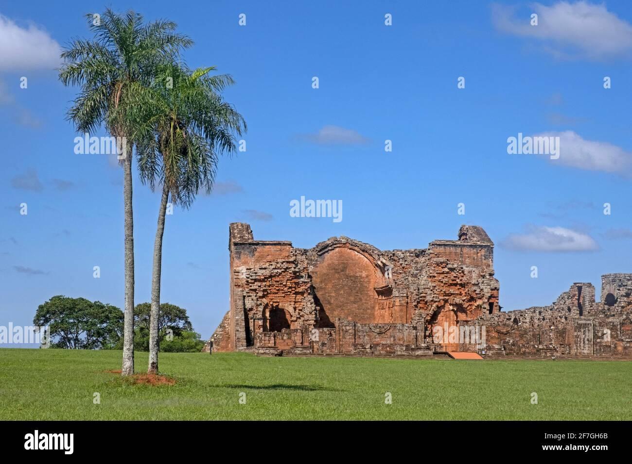 La Santisima Trinidad de Paraná / très Sainte Trinité de Paraná, ruines de la réduction jésuite à Trinidad / Trinité près d'Encarnación, Itapua, Paraguay Banque D'Images