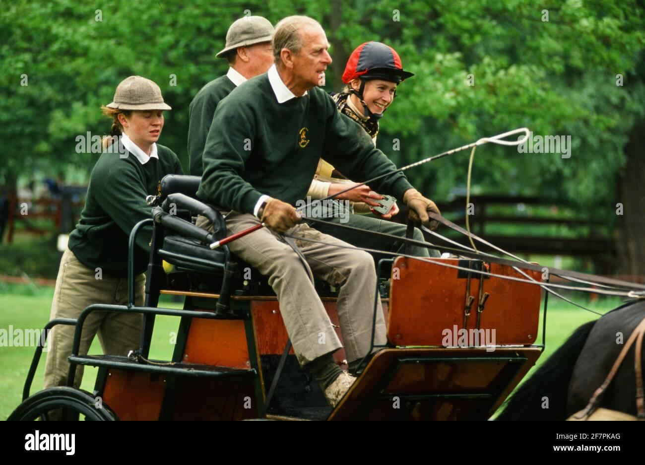 PHOTO DE FICHIER. Surrey. ROYAUME-UNI. Le prince Philip, une calèche du duc d'Édimbourg, se trouve au Windsor Horse Show. Crédit : michael melia/Alay Live News Banque D'Images