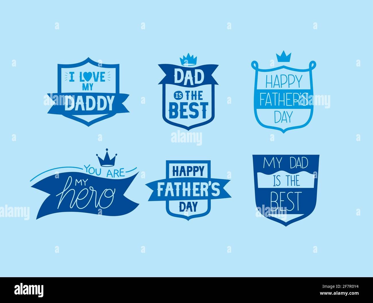 badges de fête des pères Illustration de Vecteur