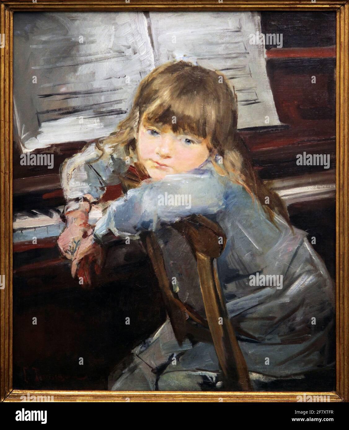 Fille au Piano 1884 par Francesc Torrescassana 1845-1918 Banque D'Images