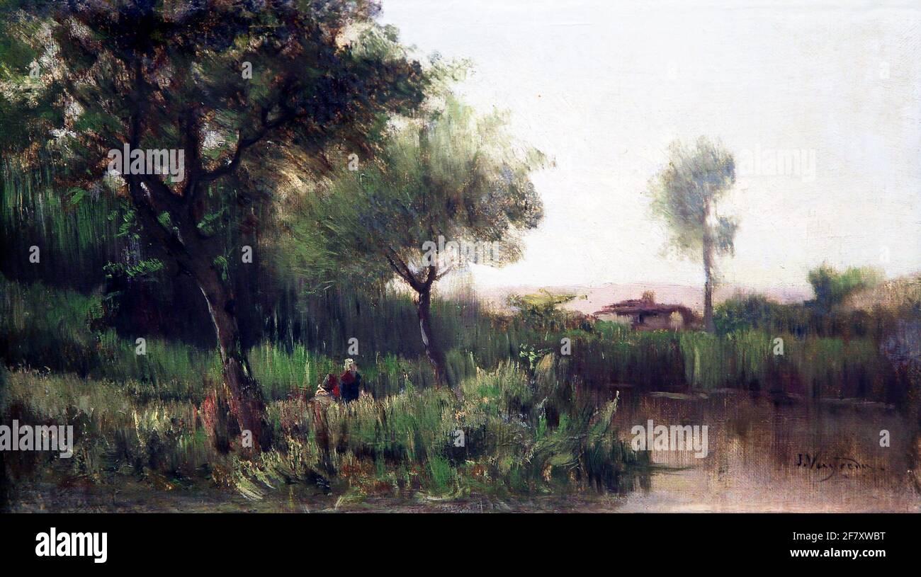 Paysage par Joaquim Vayreda 1843-1894 Banque D'Images