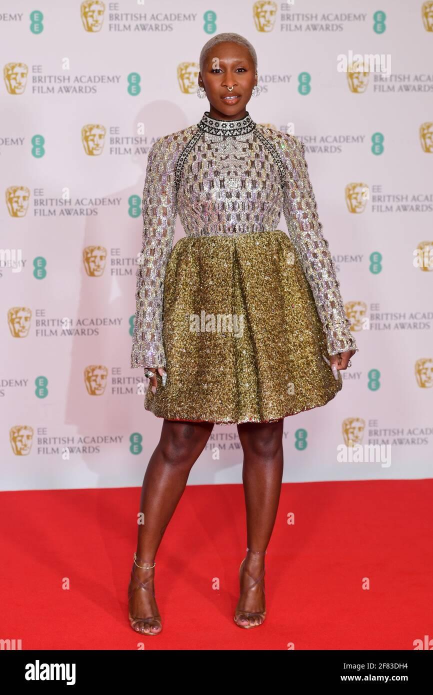 Cynthia Erivo arrive pour les prix du film EE BAFTA au Royal Albert Hall de Londres. Date de la photo: Dimanche 11 avril 2021. Banque D'Images