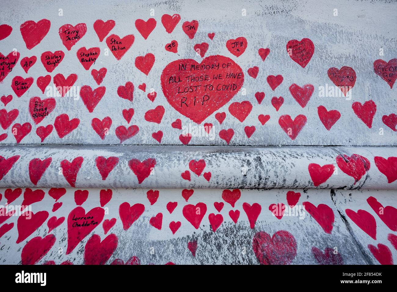 Coronavirus: National Covid Memorial Wall of Hearts, Westminster, Londres, Royaume-Uni. Banque D'Images