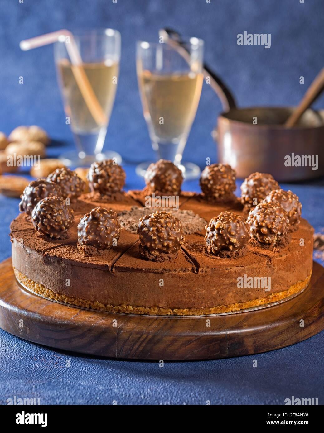 Tarte aux truffes au chocolat Banque D'Images