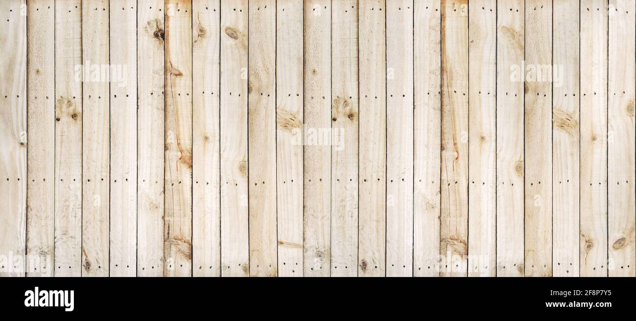 Arrière-plan en bois avec motif en bois naturel. Clôture avec clous Banque D'Images