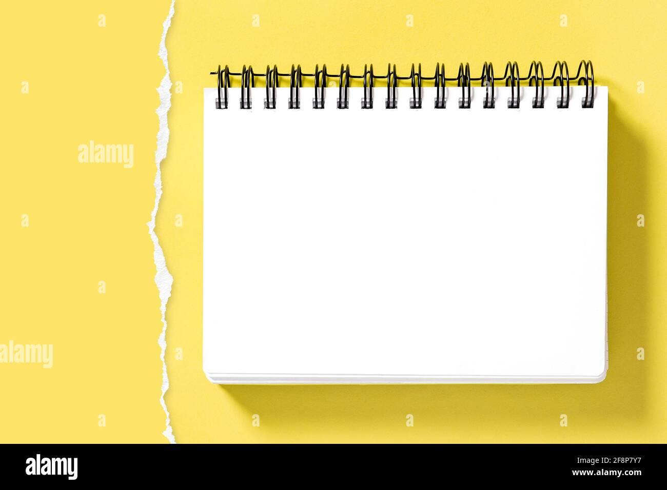 Maquette de bloc-notes en spirale et bordure en papier déchirée pour la présentation de votre dessin. Arrière-plan jaune Banque D'Images