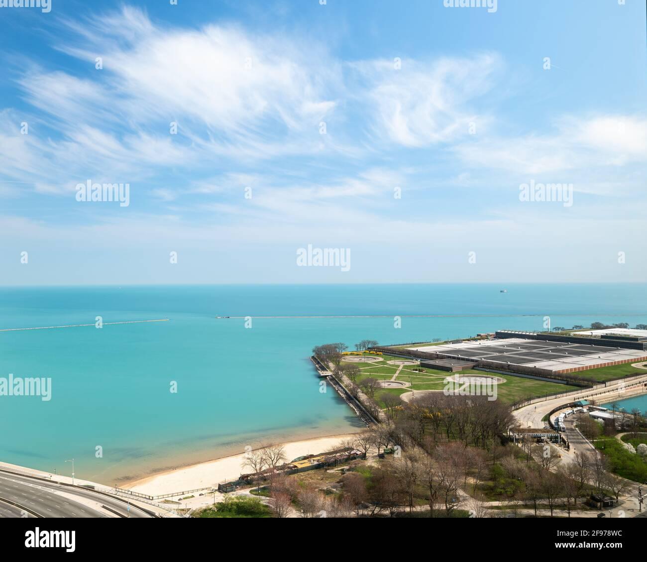 Vue aérienne de l'usine de purification de l'eau Jardine Banque D'Images