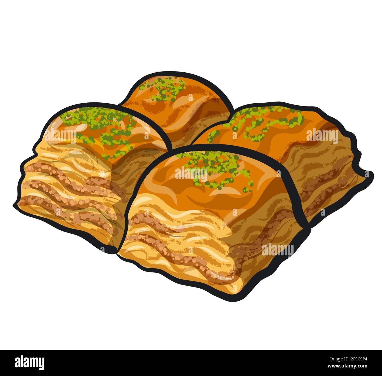 Illustration de l'Est de l'aliment sucré dessert baklava Illustration de Vecteur