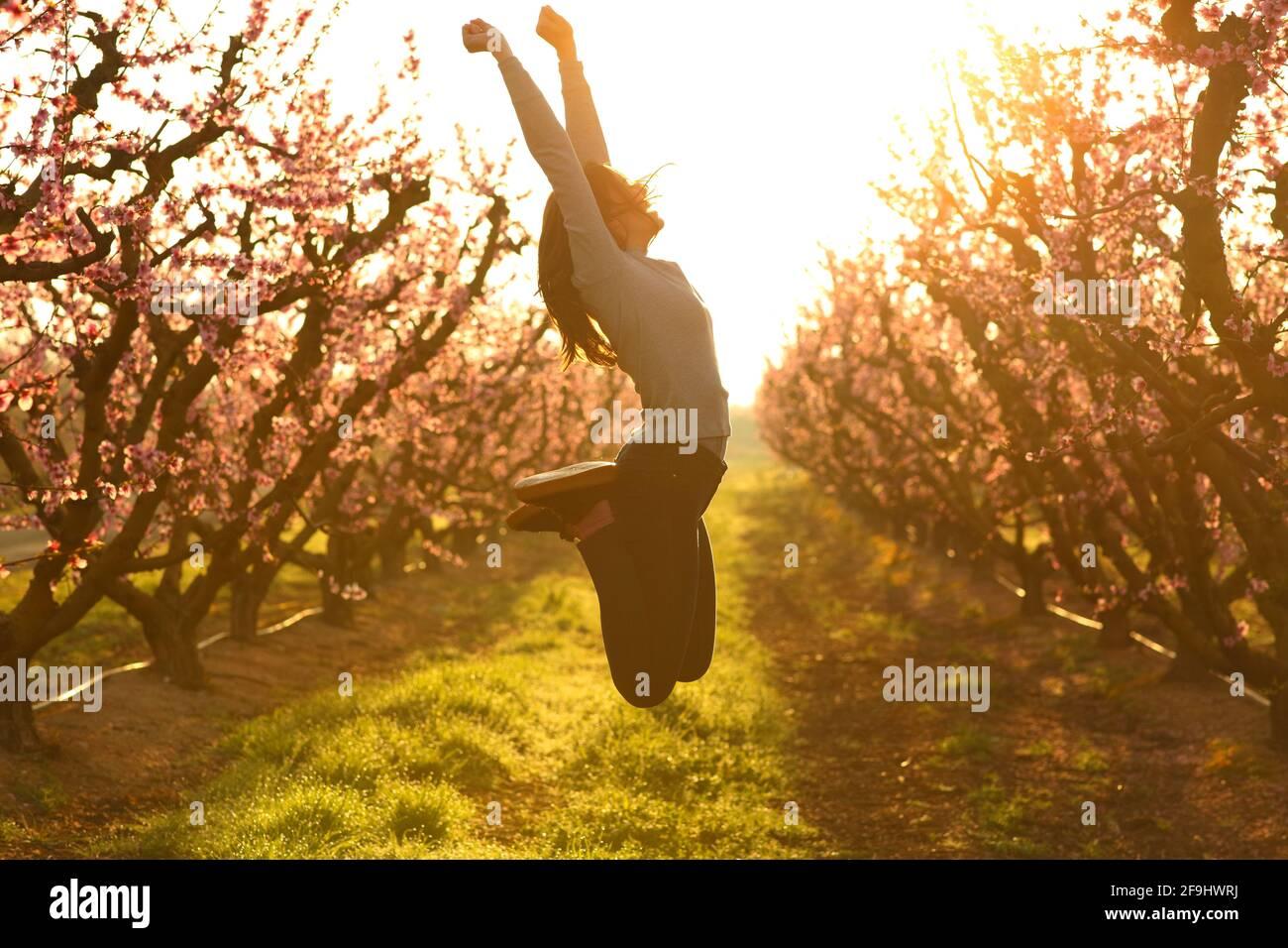 Profil d'une femme excitée sautant heureux dans un champ au lever du soleil Banque D'Images