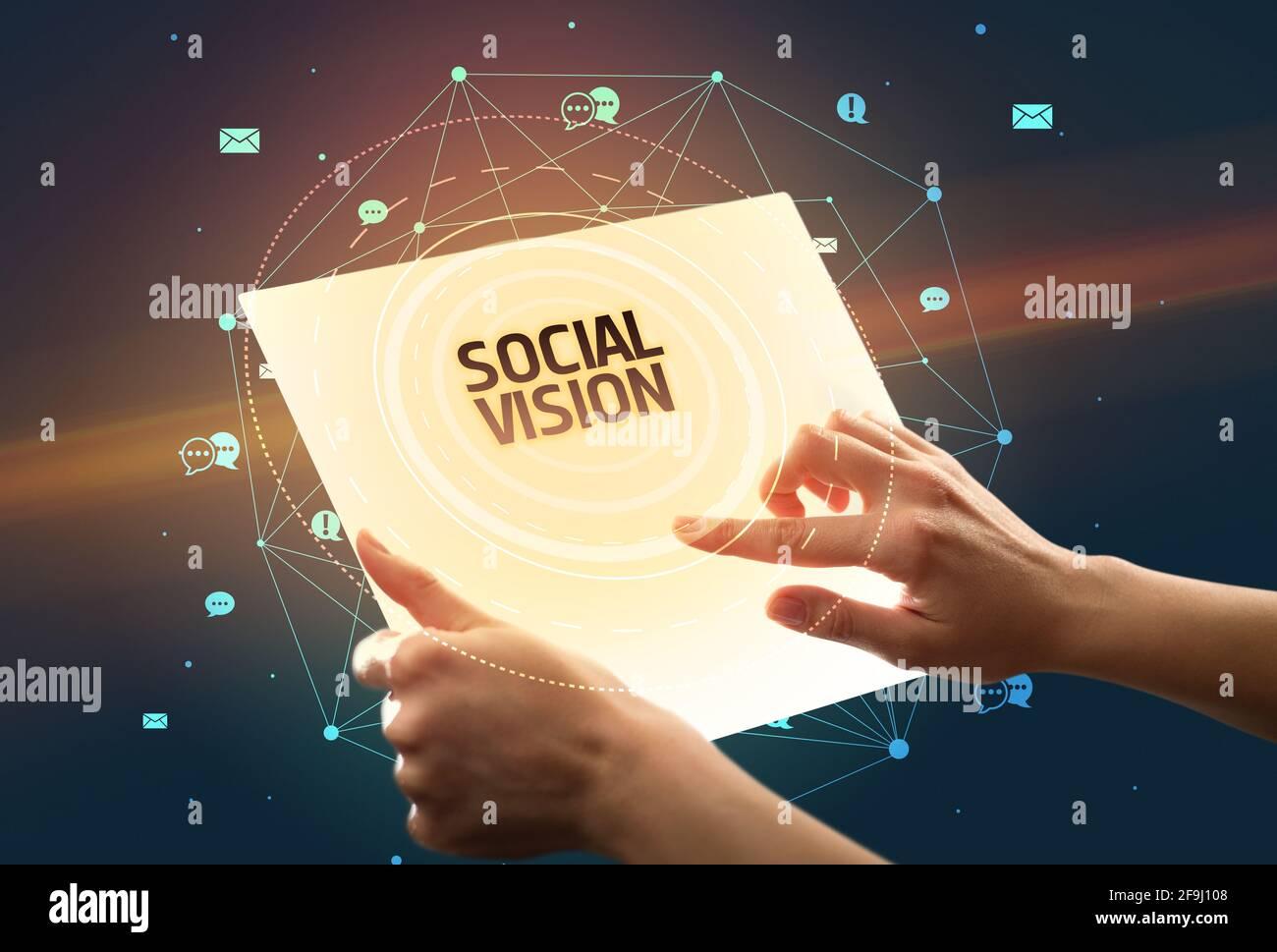 tablette futuriste, concept de médias sociaux Banque D'Images