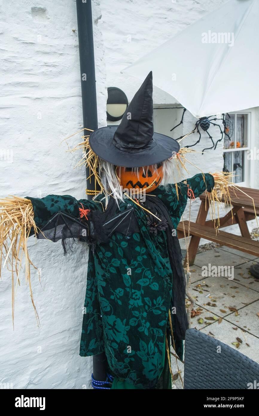 Une fraichement avec une citrouille pour une tête habillée pour les célébrations d'Halloween à Newquay, en Cornouailles. Banque D'Images