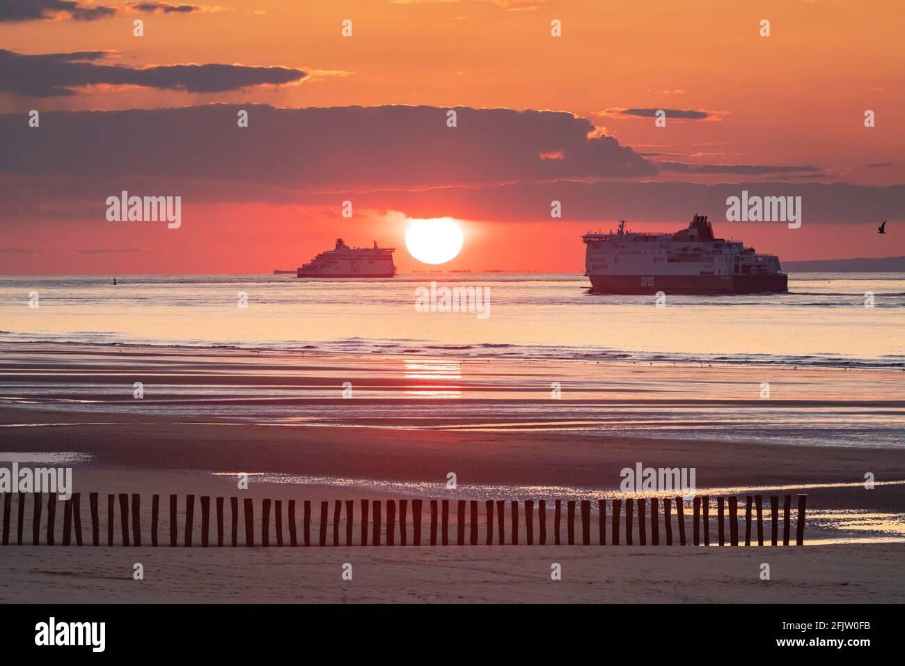 France, pas de Calais, Côte d'Opale, Sangatte Bleriot Plage, ferry faisant la liaison bateau Calais-Douvres au coucher du soleil Banque D'Images