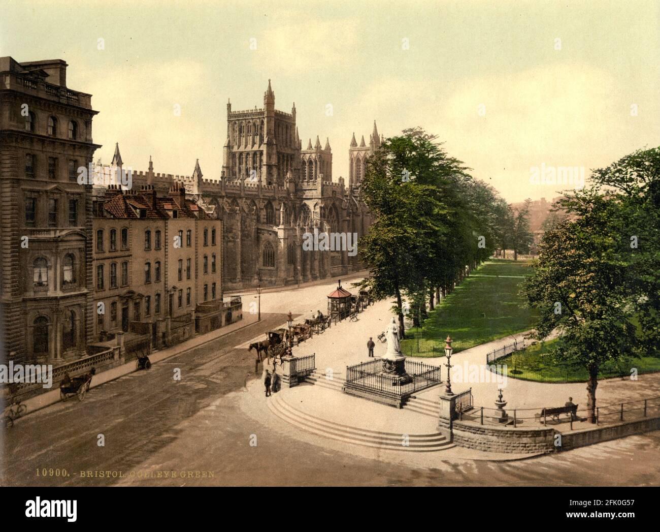 College Green, Bristol vers 1890-1900 Banque D'Images
