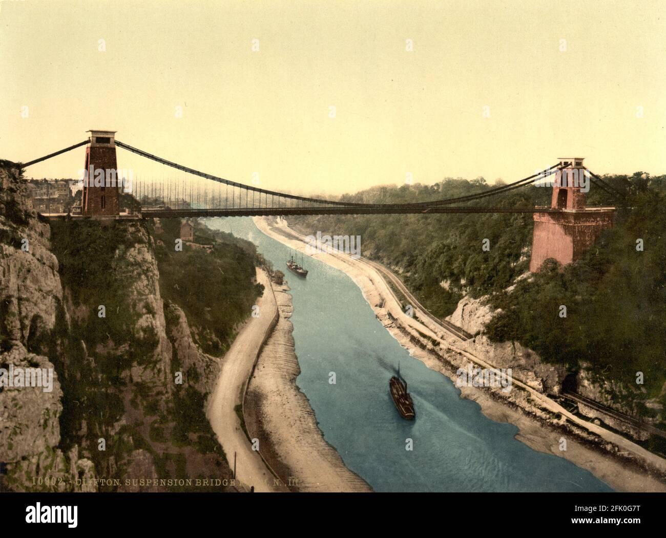Pont suspendu de Clifton près de Bristol vers 1890-1900 Banque D'Images