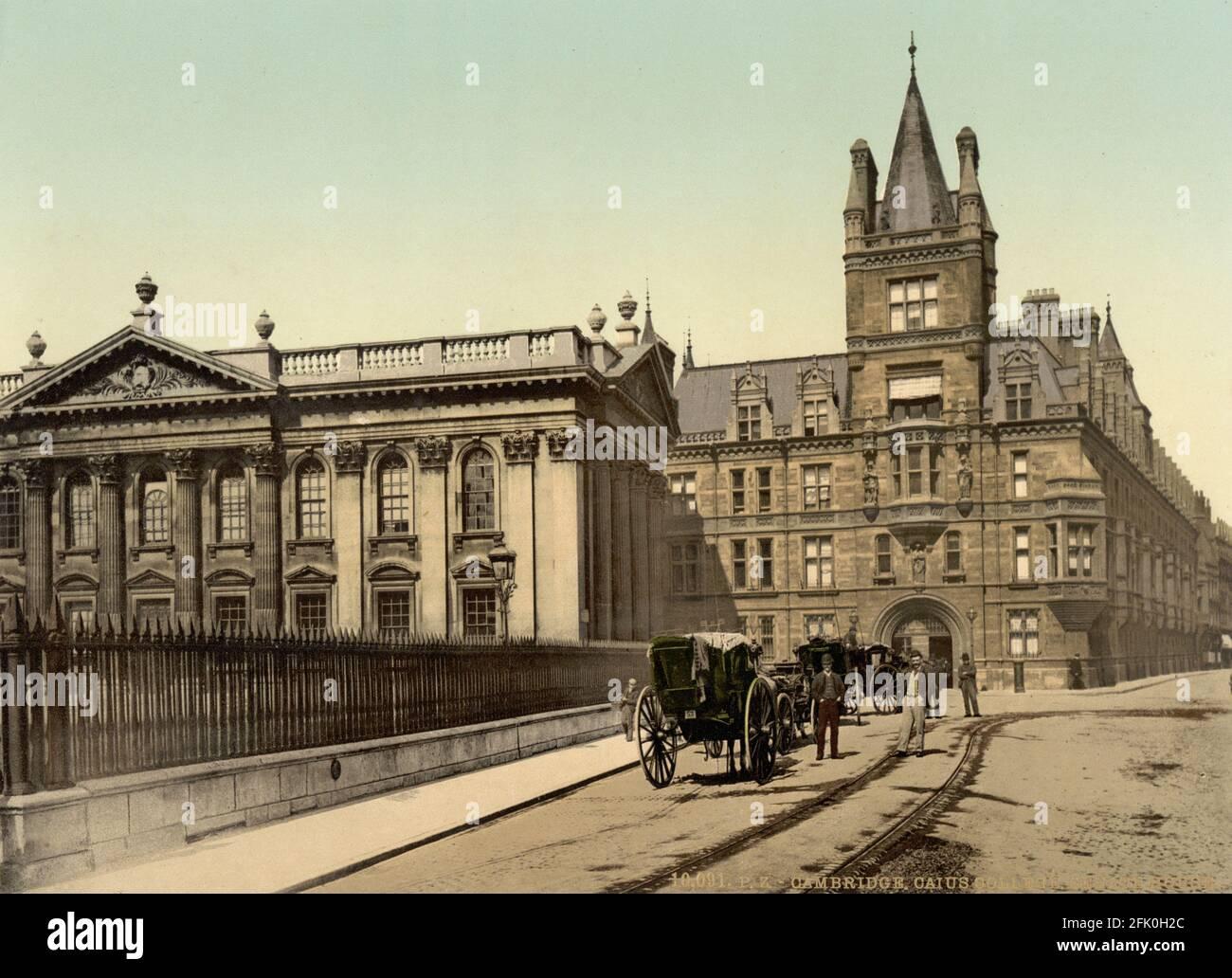 Caius College of Cambridge University et Senate House Hill vers 1890-1900 Banque D'Images
