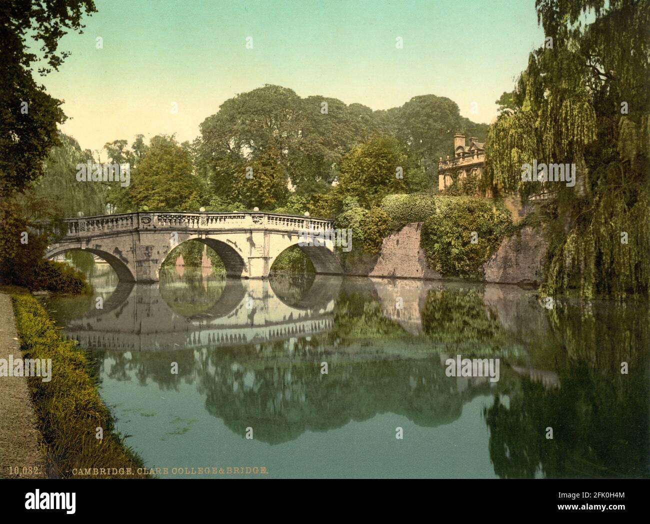 Clare College Bridge au-dessus de la rivière Cam vers 1890-1900 Banque D'Images