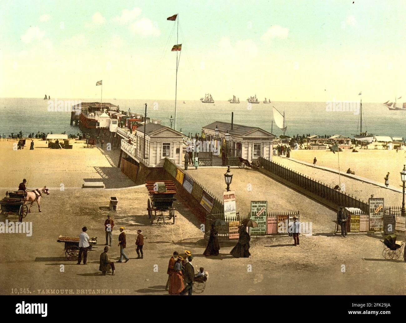 Quai Britannia à Great Yarmouth, Norfolk vers 1890-1900 Banque D'Images
