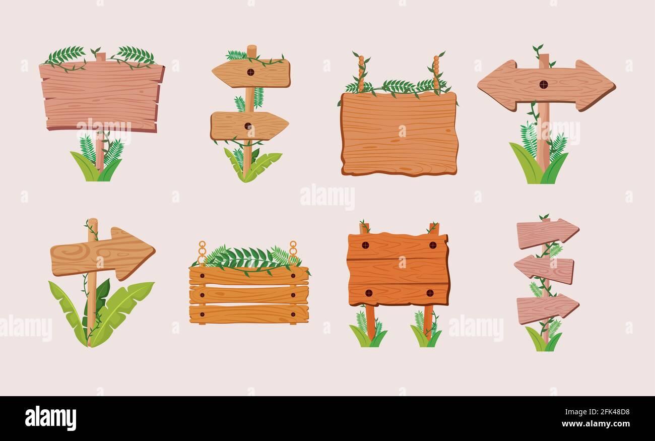 illustration des panneaux en bois Illustration de Vecteur