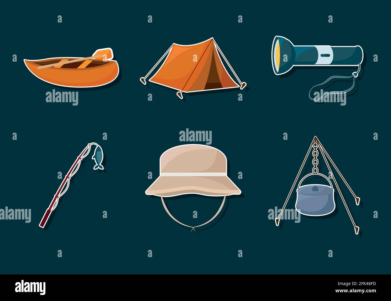 six icônes de camping Illustration de Vecteur