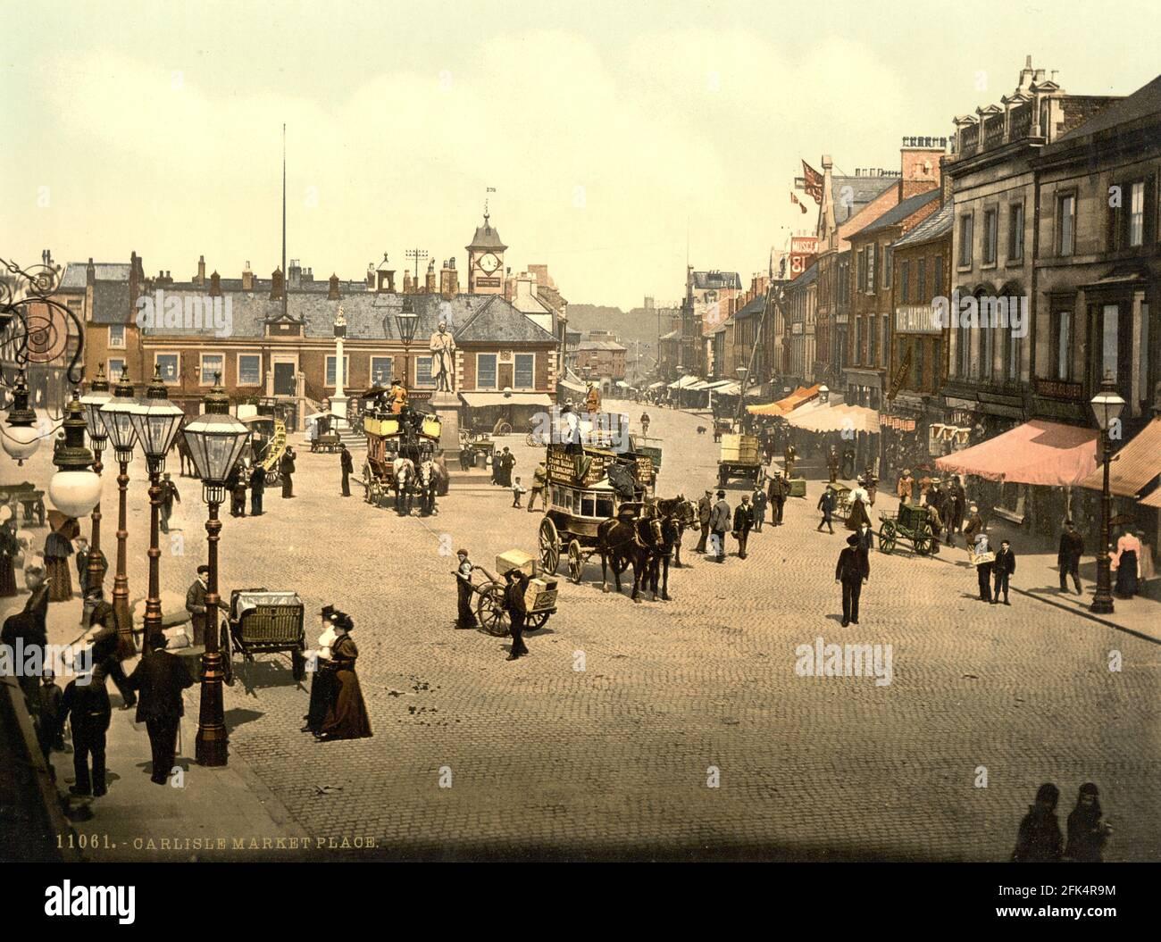 Place du marché de Carlisle à Cumbria vers 1890-1900 Banque D'Images