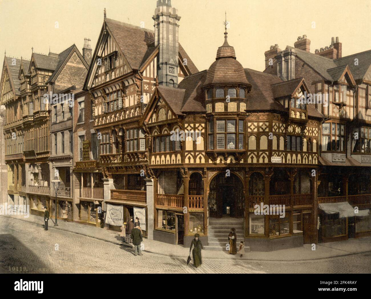 Rows and Bridge Street à Chester, Cheshire vers 1890-1900 Banque D'Images
