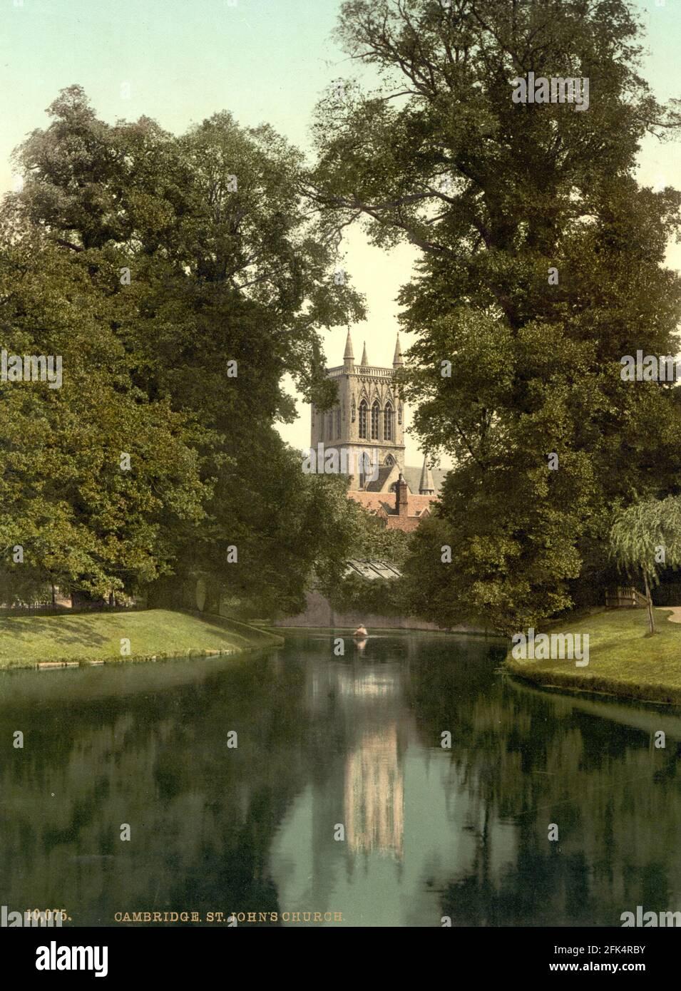 St John's College Church, Cambridge University, Cambridge vers 1890-1900 Banque D'Images