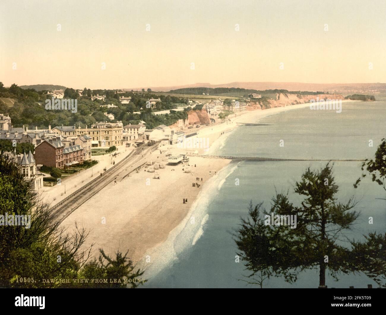 Plage de Dawlish à Devon, vue depuis Lea Mount vers 1890-1900 Banque D'Images
