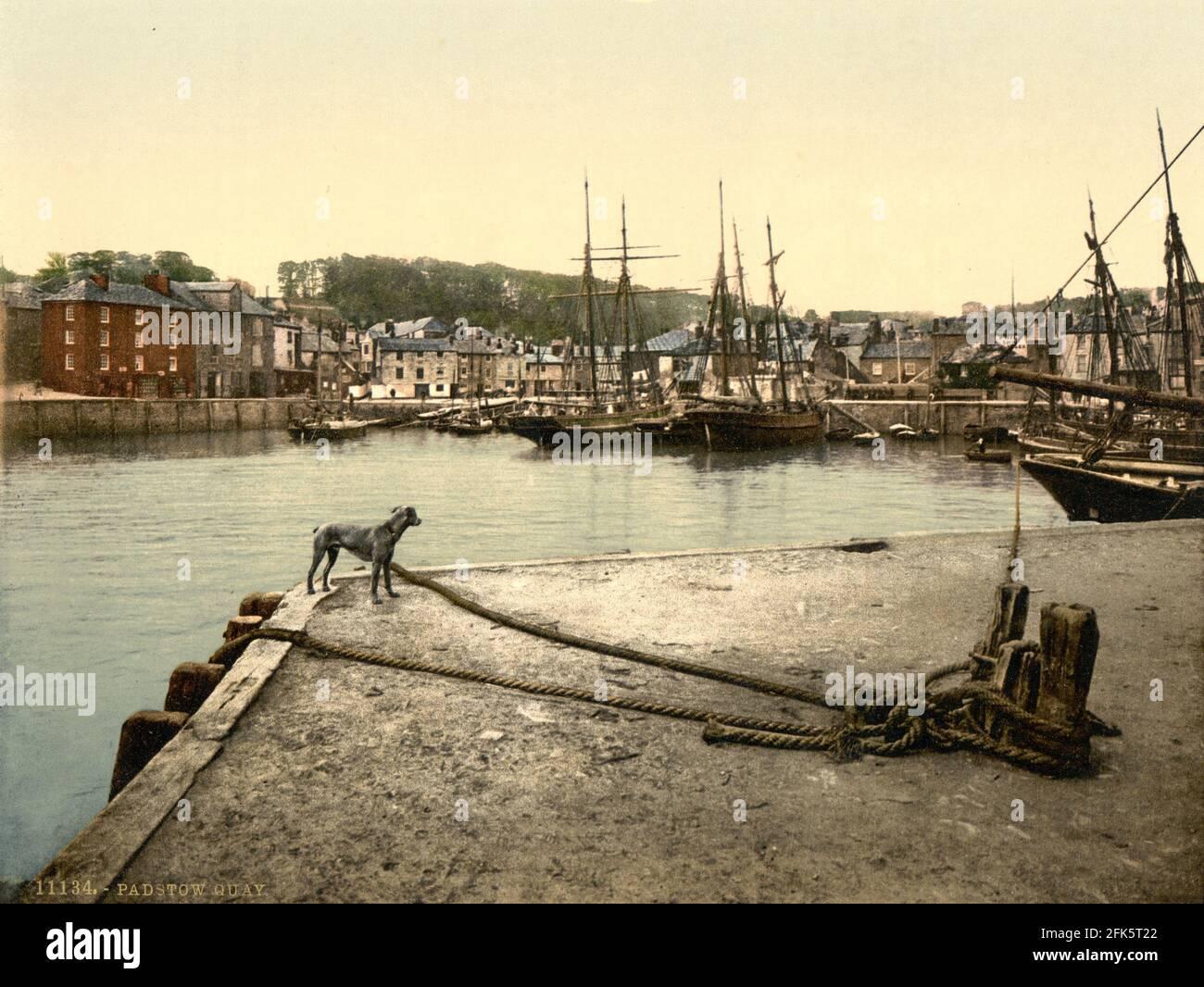 Port de Padstow dans Cornwall vers 1890-1900 Banque D'Images