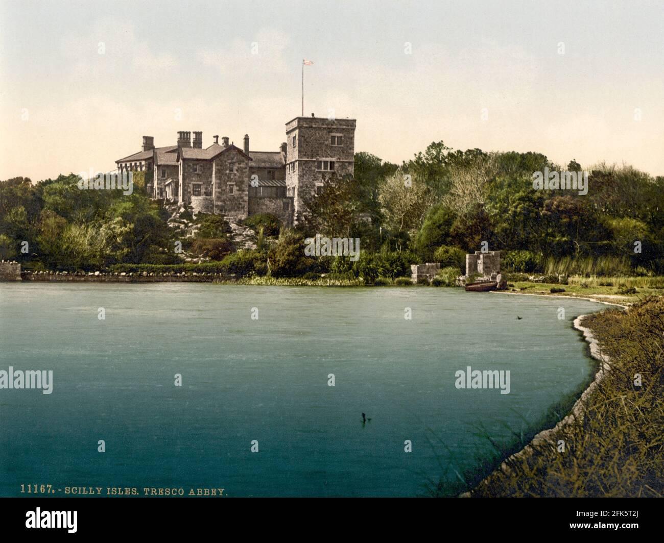 Abbaye de Tresco sur les îles Scilly vers 1890-1900 Banque D'Images