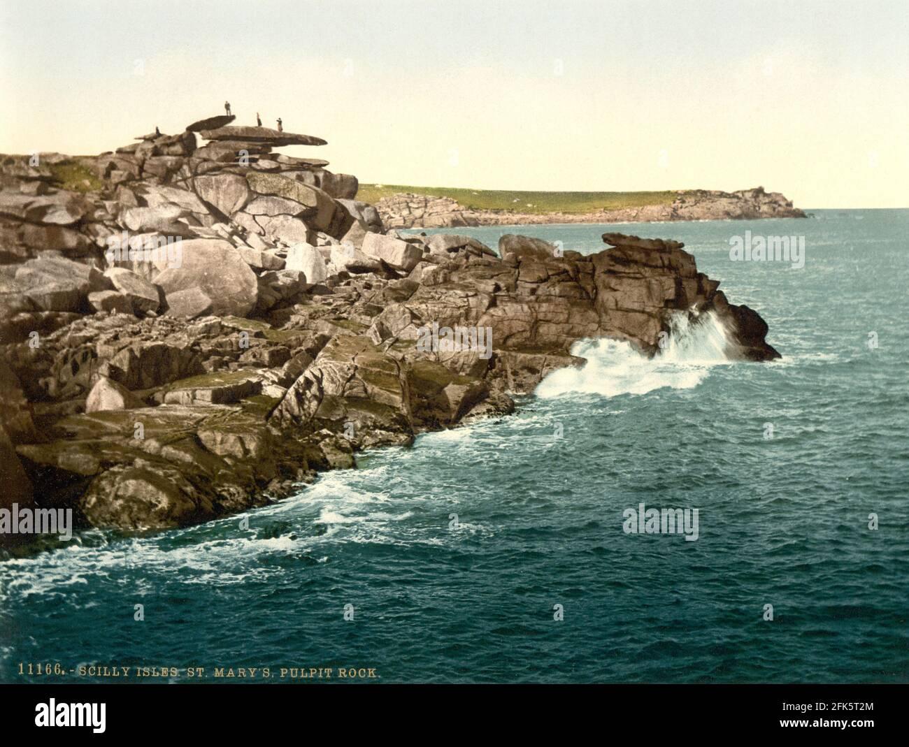 Roche de St Mary's Pulpit sur les îles Scilly vers 1890-1900 Banque D'Images