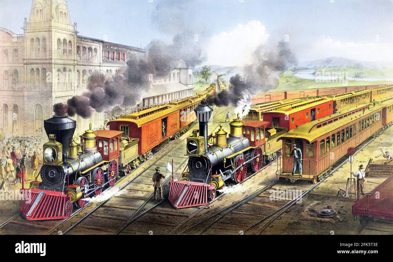 Affiche ancienne montrant deux trains à vapeur à une gare Aux États-Unis Banque D'Images